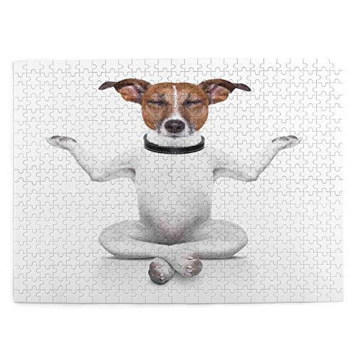 Puzzle 500 Piezas Adultos,Rompecabezas,Yoga perro sentado relajado con los ojos cerrados meditación estilo de vida,Juegos Educativos,Entretenimiento Adultos,Niños y Adolescentes,Divertido Regalo