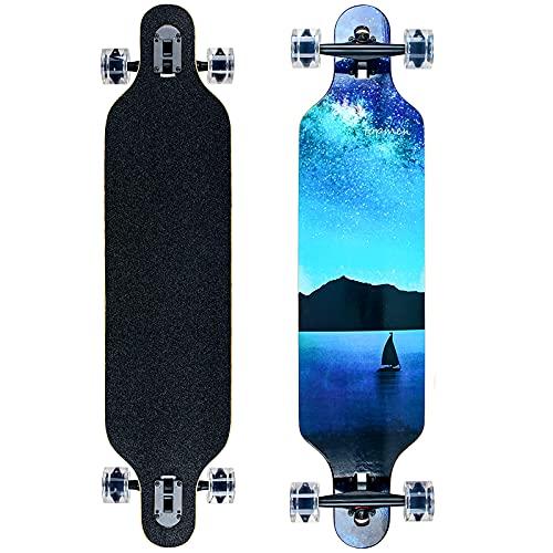 Longboard 8 Strati di Acero Flessibile Skateboard Drop Through Cuscinetti ABEC-11 per Carving Downhill Cruising Freestyle Riding