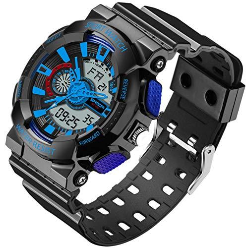 Relojes de Choque Militares Deportivos Impermeables multifunción Digitales LED para hombreNegro y azul299