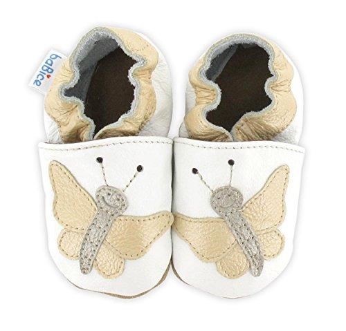 Krabbelschuhe Schmetterling 'Violetta' in 3 Farben von baBice, Größe Schuhe:24/25 (24-30 Mon);baBice Schuhe:pearl