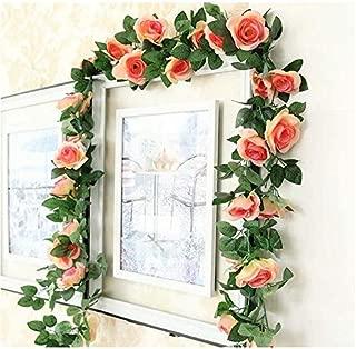MAOMAO 2 Pack Artificial Fake Rose Vine Silk Flower Garland Hanging Plants, Decorate Wedding, Home, Window, Shop, Hotel, Courtyard, etc. (Champagne)