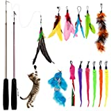 Bojafa [15 in 1] Cat Toys Assorted with 2 Retractable Teaser Wand, 13 Pcs Feather Refills, Cat Feather Teaser Toys for Indoor Cats Kitten Interactive Train…