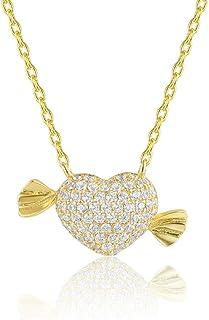 SKA مجوهرات سويت كاندي قلادة للبنات النساء لامعة براق مكعب زركونيا سلسلة قلادة قابل للتعديل 20 بوصة مطلي بالذهب الأصفر