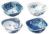 Arita Porcelain Small bowls Japanese traditional patterns, sushi, sashimi, appetizer, dessert, Set of 4