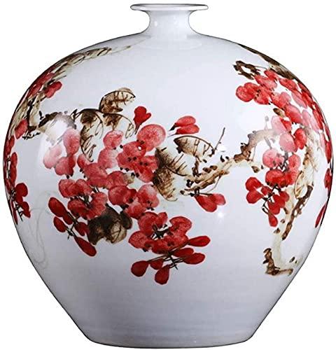 QHCS Jarrón de cerámica con Flores para decoración Jarrón de Granada de Estilo Chino, jarrón de cerámica, con Base, Pintura de Ciruela roja Pintada a Mano, arreglo Floral Simple, jarrones de 11,4