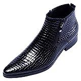 Santimon Men's Ankle Patent Leather Fashion Plaid Zipper Pointed Toe Casual Boots Black 10 M US