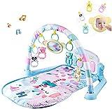 Wivilly Alfombrilla Fitness para Beb Almohadilla Juego Piano Pedal Forma Arco para Beb Juguete Msica Sonajero Dibujos Animados para Nios 1-36 Meses,Azul