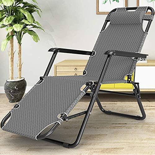 Silla de gravedad cero Silla reclinable Silla plegable Sillón Silla de patio Reclinación para personas pesadas, tumbonas plegables, tumbonas para acampar y jardines, sillas de camping al aire libre-ma