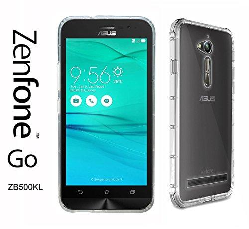 "IBROZ ASUS Zenfone GO (ZB500KL) Taille 5"" - Coque Housse étui Silicone Premium - Transparent - Air Cushion Corners (Semi Rigide - Chocs Absorption)"