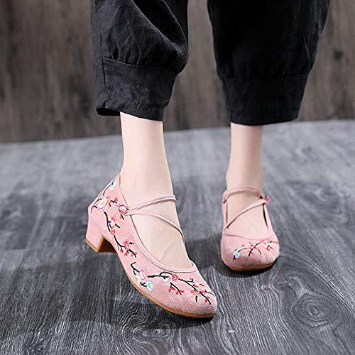 LYNLYN Gestickte Schuhe für Frauen Frauen Bestickt Jacquard Stoff Block Heel Schuhe Spanngurt Retro Damen Casual Cotton Pumps Cheongsam Matched Gestickte Fersen (Color : Pink, Size : 40)