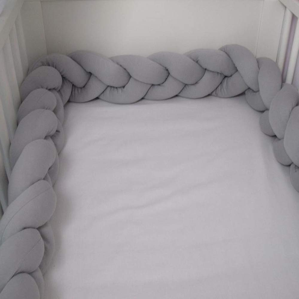 6.56FEET 2Meter Baby Crib Bed Bumper Pillow Machine Washable Cushion Crib Bedside Protector Infant Cot Rails Newborn Gift Knotted Braided Plush Nursery Cradle Decor , Grey