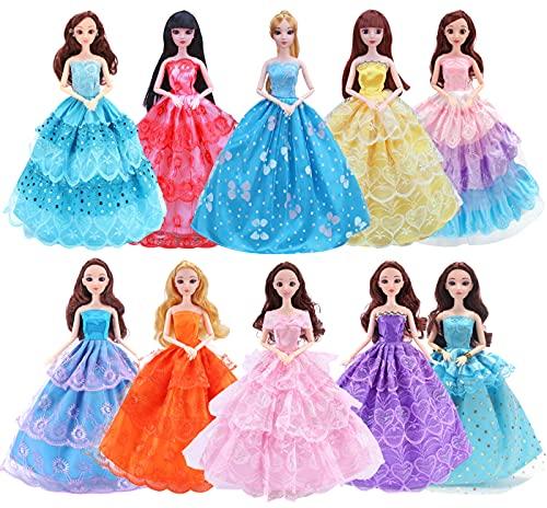 Miotlsy 10 Stück Mode Kleider für Fashionistas Puppe Prinzessin Abendkleid Brautkleider Outfit Kleidung Kleid Pupenkleidung Spitzenkleider Ballkleider für 11 Zoll Doll