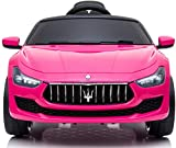 TOBBI Kids Ride On Car Maserati 12V Rechargeable Toy Vehicle w/ MP3 Remote Control Pink