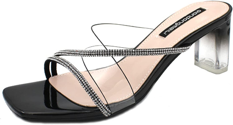 Latest item Women Fashion Cozy Slip-on Square 55% OFF Crystal Tran Toe Heels Sandals