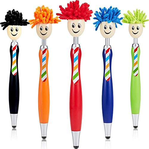 Ballpoint Pen Mop Topper Pens Stylus Pens Screen Cleaner 3-in-1 Stylus Duster & Ballpoint Pen for Kids and Adults (5 Colors, 5 Pieces)