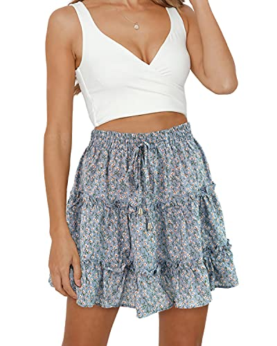 Alelly Women's Summer Cute High Waist Ruffle Skirt Floral Print Swing Beach Mini Skirt Blue