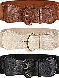 3 Cinturones Anchos (Negro, marrón, beige con hebilla dorada, 33,07 Pulgadas)