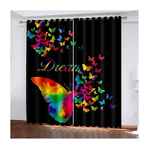 Daesar Rideaux 2 Pièces, Rideau Noir Multicolore Rideau Design Salon Papillons Rideau Occultant Fenetre 107x183CM