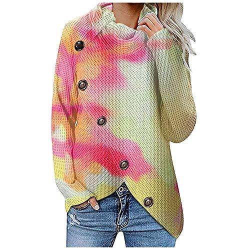 INLLADDY Tie-dye Langarm Pullover Damen Warm Asymmetrische Strickpullover...