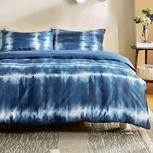 Bedsure Funda Nordica Cama 150 - Funda Edredon Cama 135 Moderna Estampada Tie Dye, Ropa de Cama 230x220 cm con 2 Fundas Almohadas 40x75 cm, 3 Piezas, Blanca y Azul