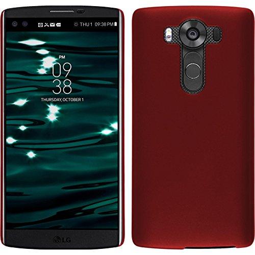 PhoneNatic Case kompatibel mit LG V10 - Hülle rot gummiert Hard-case Cover