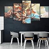 Imágenes impresas en HD, arte de pared para el hogar, póster modular, 5 paneles, pinturas de Zelda en lienzo de dibujos animados, sala de estar decorativa enmarcada