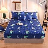 FJMLAY Sábanas de Cama Transpirable,Sábanas Ajustadas Acolchadas Cepilladas, Alfombrilla De Protección Antideslizante para Dormitorio Apartamento Hotel-Blue_5_180cmx200cm