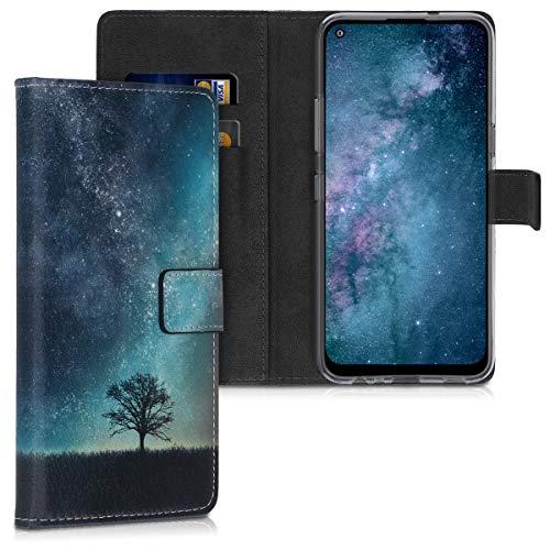 kwmobile Hülle kompatibel mit LG K61 - Kunstleder Wallet Hülle mit Kartenfächern Stand Galaxie Baum Wiese Blau Grau Schwarz