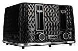 LIVIVO Taurus 4 Slice Toaster Glossy Finish with Extra Wide Slots - 6 Browning Bread Toast Settings - Reheat Defrost & Cancel Functions – High Lift – Removable Slide On Crumb Tray 1750w