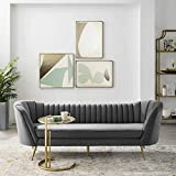 Modway Opportunity Channel Tufted Curved Back Upholstered Performance Velvet Sofa in Gray