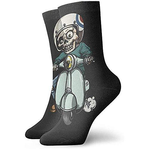 Be-ryl Calcetines Deportivos de algodón Calcetines Deportivos de compresión Calcetines de Vestir de Zombie en Scooter