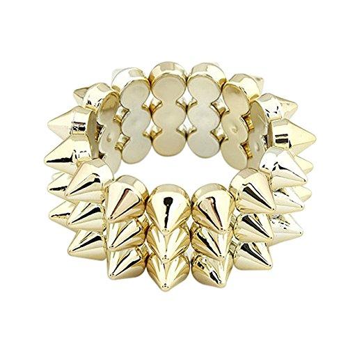 Milopon Armband Nieten Punk Armreifen Spitznieten Armkett Kette Choker Manschette (Gold)