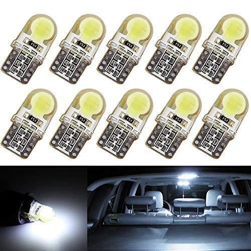 Luces LED para el Interior del Coche T10, Riloer 194 W5W Lámpara LED de Silicona Súper Blanca de 9-30 V para Iluminación de Mapas Lámparas de Lectura de Puertas Paquete de 10