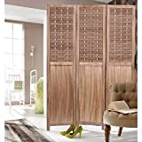 """COZAYH 3 Panel 67"""" Paulownia Wood Screen Room Divider, Folding Room Partitions, Freestanding Privacy Screen w/Hand-Woven Polymer Rattan, Room Separator, Divider Wall"""