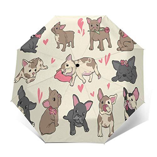 Automatic Open & Closed Windproof Folding Umbrellas Vinyl Umbrella for Men and Women Folded french bulldog puppy