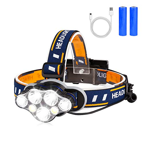 BRIGENIUS Linterna Frontal, LED Súper Brillante Recargable Linterna Cabeza 8 Modos 90 Grados Ajustable Alta Potencia Impermeable Linternas Frontales para Camping, Excursión, Pesca, Carrera, Ciclismo