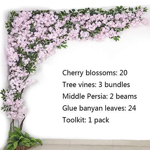 LNDDP Künstliche Kirschblütenblüten für Haushochzeitsfeier Gartenbürodekoration Seidenpflanzen, lila