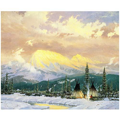 Kopen Schilderij Prints Thomas Kinkade-Lingering Dusk-Art Canvas Grote Muurschildering voor Woonkamer Canvas Foto -60x80cm Geen Frame