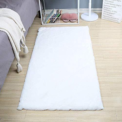 SXYHKJ Faux Rutschfeste Kurzfell-Teppich Kunstfell Hasenfell Imitat | Wohnzimmer Schlafzimmer Kinderzimmer | Als Faux Bett-Vorleger oder Matte für Stuhl Hocker Sofa (Quadratisch weiß, 75x120cm)