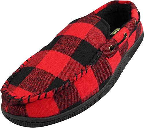 NORTY - Mens Buffalo Plaid Moccasin Slipper, Black, Red 40015-X-Large