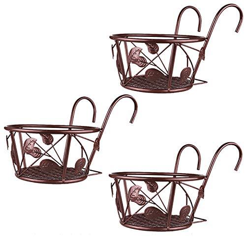 WJLED Kleiner hängender Blumentopfständer, eiserner Blumentopfständer, einfaches Design, geeignet für Innenhof, Veranda, Balkon, Garten (3 Stück),Gold
