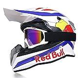 Fullface Helmet, Motorcycle Helmet, Bicycle Helmet, ABS DOT/ECE Certification, Four Seasons, Large Rally Helmet, Mountain Bike, Downhill Helmet, Glasses Gloves, Red Bull,Weiß,M