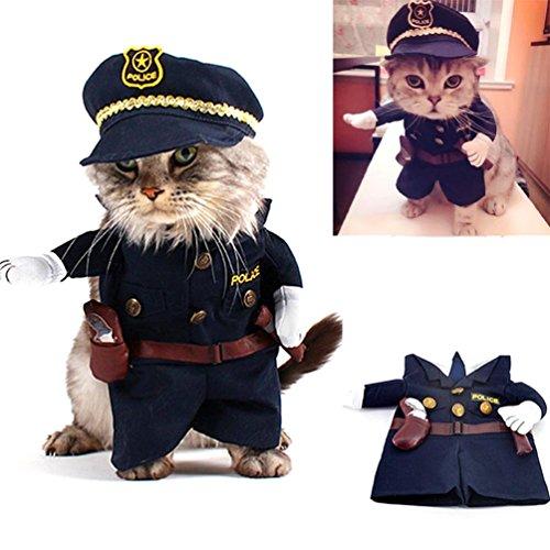 smalllee de la Suerte Store Gato Perro policía Disfraz Ropa para Perros...