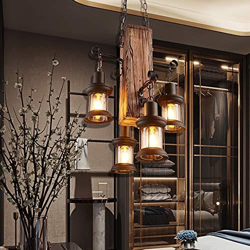 E27 Vintage Hängeleuchte Pendelleuchte Industrie Hängelampe Retro Pendellampe Loft Holz Kronleuchter Dekorative Aus Höhenverstellbar Hölzerne Hängende Lampe Gastronomie Deckenleuchte Bar Wohnzimmer