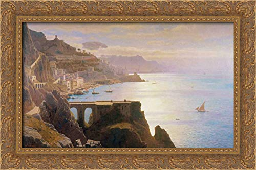 Haseltine, William Stanley 24x15 Gold Ornate Framed Canvas Art Print Titled: Amalfi Coast S.L.L.