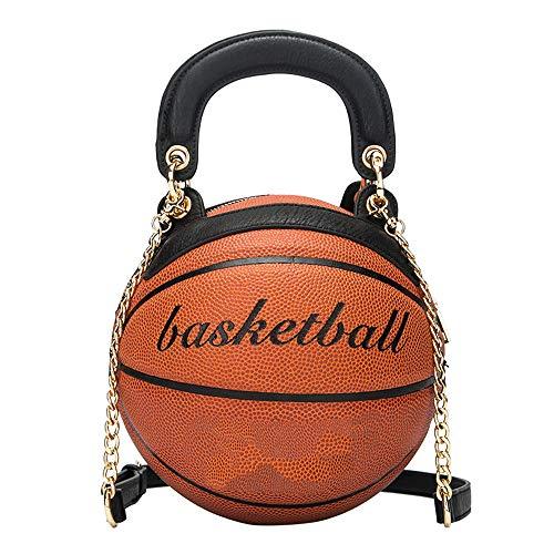 Women Basketball Shaped Purse Girls Round Handbag Shoulder Cross Body Adjustable Strap Pu Messenger Bag
