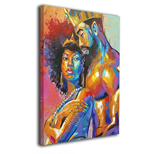 "King African American Lovers Couple 12""x16"" Painting Canvas Wall Art Home Decor for Living Room Bedroom"