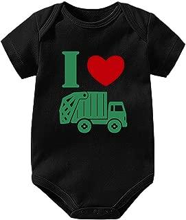 I Love Trash Garbage Trucks Cartoon Unisex Baby Bodysuits Short-Sleeve Onesies Romper Outfits Jumpsuit