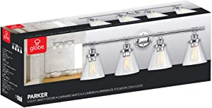 Globe Electric Parker 4 Chrome Vanity Light with Clear Glass Shades 51446