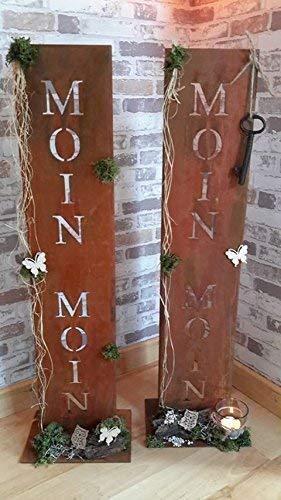 Rostikal | Edelrost Gartendeko Ständer mit Schriftzug Moin Moin | 71 cm hoch